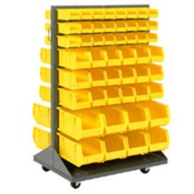 Mobile Double Sided Floor Rack With 48 Yellow Akrobins 36 x 54