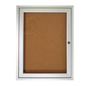 "Ghent® Bulletin Board One Door Aluminum Frame Cork Board 30""W x 36""H"