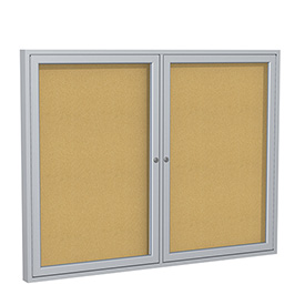 "Ghent® Bulletin Board Two Door Aluminum Frame Cork Board 60""W X 48""H"