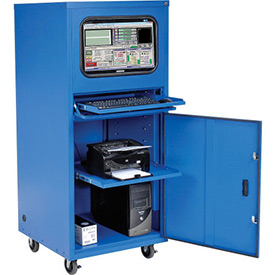 Deluxe Mobile Security Computer Cabinet - Blue - Assembled