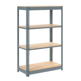 "Heavy Duty Shelving 48""W x 18""D x 72""H With 4 Shelves, Wood Deck"