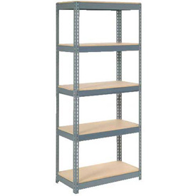 "Extra Heavy Duty Shelving 36""W x 12""D x 72""H With 5 Shelves, Wood Deck"