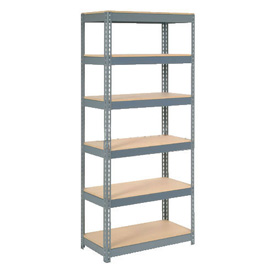 "Extra Heavy Duty Shelving 36""W x 24""D x 72""H With 6 Shelves, Wood Deck"