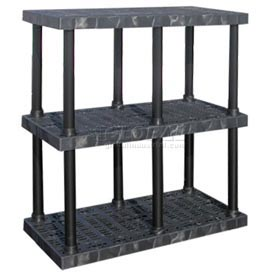 "Structural Plastic Vented Shelving, 48""W x 24""D x 51""H, Black"