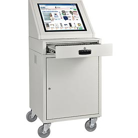 LCD Mobile Console Computer Cabinet - Gray