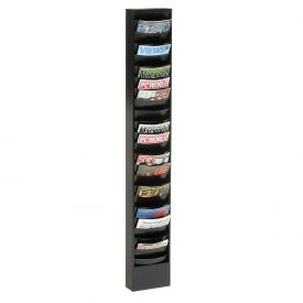 23 Curved Pocket Steel Literature Rack Black