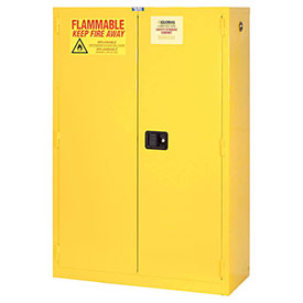 "Global™ Flammable Cabinet - 44 Gallon - Self Close Double Door - 34""W x 18""D x 65""H"