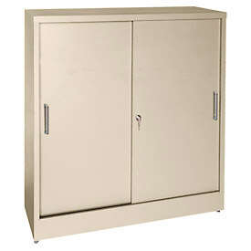 Sandusky Sliding Door Counter Height Storage Cabinets BA2S361842 - 36x18x42, Tan