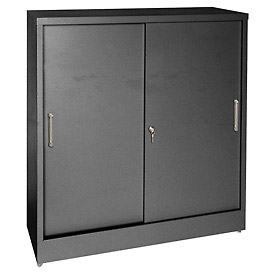 Sandusky Sliding Door Counter Height Storage Cabinets BA2S361842 - 36x18x42, Black