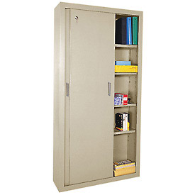 Sandusky Sliding Door Counter Height Storage Cabinets BA4S361872 - 36x18x72, Tan