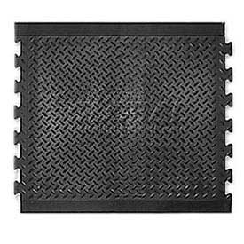 "Modular Diamond Top Rubber Matting Center Tile 1/2"" Thick 28""X31"" Black"