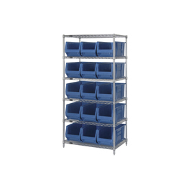 "Quantum WR6-953 Chrome Wire Shelving With 15 24""D Bins Blue, 36x24x74"