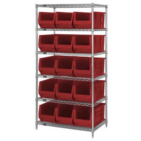 "Quantum WR6-953 Chrome Wire Shelving With 15 24""D Bins Red, 36x24x74"