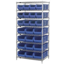 "Quantum WR7-20MIx Chrome Wire Shelving With 20 24""D Bins Blue, 36x24x74"