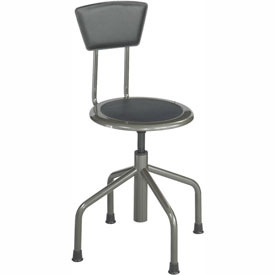 Safco Low Base Stool with Backrest - Steel - Silver