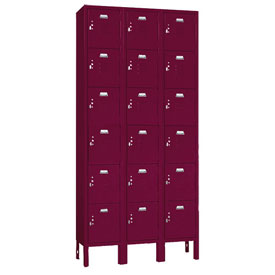 Penco 6367V-3-736KD VanGuard Locker Six Tier 12x15x12 18 Doors Ready To Assemble Burgundy