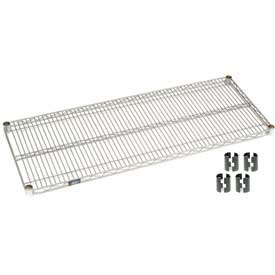"Nexel S1848S Stainless Steel Wire Shelf 48""W x 18""D with Clips"