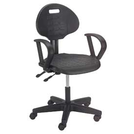 Ergonomic Polyurethane Chair with Arms - Black