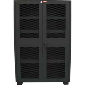 "Global™ Heavy Duty Cabinet Clearview Doors Four Shelves, Welded  60""W x 24""D x 78""H Gray"