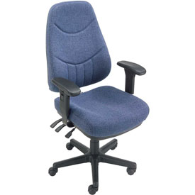 Multifunctional Office Chair with Arms - Fabric - Mid Back - Blue Seat Black Base