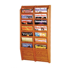 14 Pocket Oak Wall Rack Medium Oak