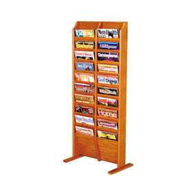 20 Pocket Free Standing Oak Display Medium Oak