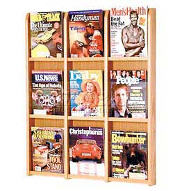 9 Pocket Oak & Acrylic Wall Rack Medium Oak