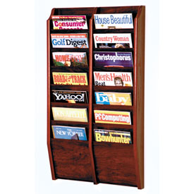 14 Pocket Oak Wall Rack Mahogany