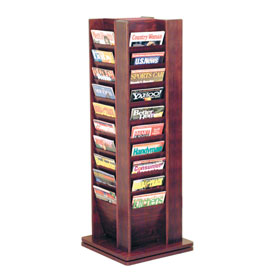 40 Pocket Revolving Floor Display Mahogany
