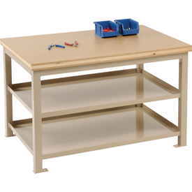 24 X 36 X 24 Double Shelf Shop Stand - Shop Top - Beige