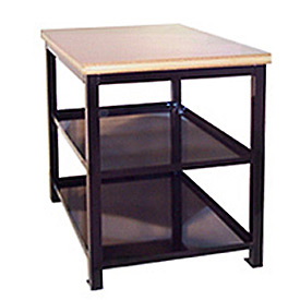 24 X 36 X 24 Double Shelf Shop Stand - Maple - Black