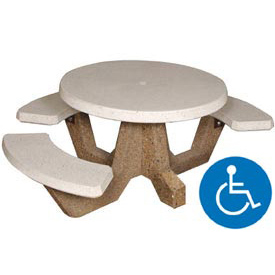 Concrete Round Picnic Table with 3 Benches ADA