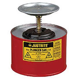Justrite Safety Plunger Can - 2 Quart Steel, 1020-8