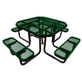 "46"" Octagonal Picnic Table Green Expanded Metal Surface Mount Style"