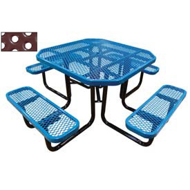 "46"" Octagonal Picnic Table Blue Perforated Metal Surface Mount Style"