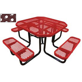 "46"" Octagonal Picnic Table Red Perforated Metal Surface Mount Style"