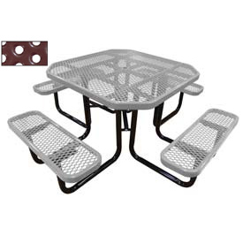 "46"" Octagonal Picnic Table Gray Perforated Metal Surface Mount Style"