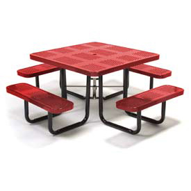 "46"" Square Picnic Table Red Perforated Metal Surface Mount Style"