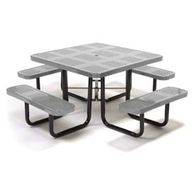 "46"" Square Picnic Table Gray Perforated Metal Surface Mount Style"