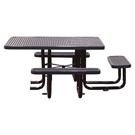 "58"" Picnic Table (ADA) Black Expanded Metal Surface Mount Style"