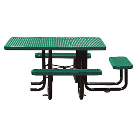 "58"" Picnic Table (ADA) Green Expanded Metal Surface Mount Style"