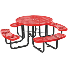 "46"" Round Picnic Table Red Expanded Metal Surface Mount Style"