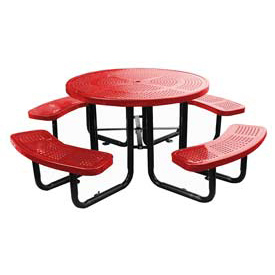 "46"" Round Picnic Table Red Perforated Metal Surface Mount Style"