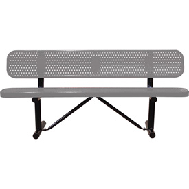 "72"" Bench With Backrest Gray Perforated Metal Surface Mount Style"