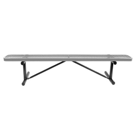 "96"" Bench Gray Expanded Metal Surface Mount Style"