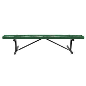 """72"""" Bench Green Perforated Metal Surface Mount Style"""