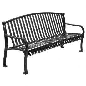 "60"" Bench Curved Top Ribbed Style - Black"