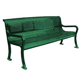 "72"" Perforated Roll Formed Bench - Green"