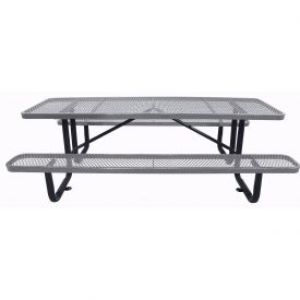 "72"" Rectangular Picnic Table Gray Expanded Metal Surface Mount Style"