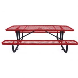 "96"" Rectangular Picnic Table Red Expanded Metal Surface Mount Style"